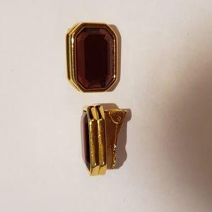 Joan Rivers Purple Gemstone Clip-On Earrings